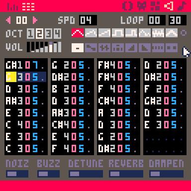 PICO-8 SFXエディタ トラッカーモード